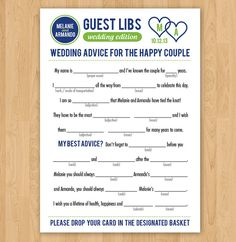 Forget the usual wedding guest books. Here you will find clever and chic wedding guest book ideas for your unique wedding. Love the mad libs! Wedding Mad Libs, Wedding Games, Wedding Advice, Wedding Wishes, Friend Wedding, Chic Wedding, Wedding Events, Our Wedding, Wedding Planning