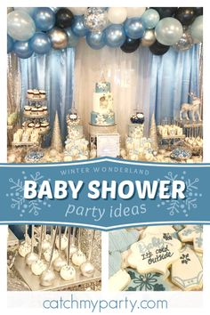 Don't miss this magical winter wonderland baby shower! The party food looks gorg., Don't miss this magical winter wonderland baby shower! The party food looks gorg. Baby Shower Garcon, Baby Shower Niño, Baby Shower Winter, Baby Shower Parties, Baby Shower Themes, Baby Shower Decorations, Shower Ideas, Shower Cake, Shower Favors