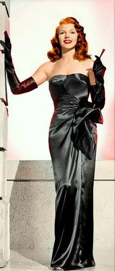 Rita Hayworth in a publicity photo for Gilda, 1946 (colourised).