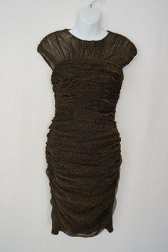 Tadashi Shoji Ruching Mesh Body Con Bodycon Dress