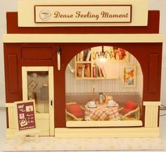 Dollhouse Miniature Kit w/ Light Dense Feeling Moment Coffee Cafe Store Shop #UrGifts