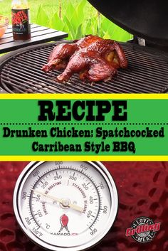 Drunken chicken recipe- the title says it all. Spatchcocked chicken, Jamaican style Beer and tasty, tasty smoke. Smoked Beer Can Chicken, Smoked Chicken Recipes, Drunken Chicken, Beer Chicken, Smoked Pork, Canned Chicken, Smoked Pot Roast Recipe, Pot Roast Recipes, Cooking Recipes