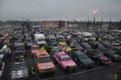 Look at the cars! The Carbage Run is about to start