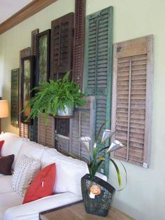 Vintage Wall Decoration With Old Wooden Shutters