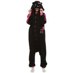 1f0b0d99cf Black KT Cat Kigurumi Costume Unisex Fleece Pajamas Onesie Cat Costumes