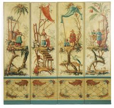 A polychrome-painted four panel screen by the studio of Jean Baptiste Pillement mid-18th century