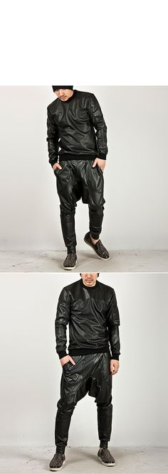 ★SOLD-OUT★ Striking All leather Low Crotch Baggy Sweatpants - 44 - NewStylish