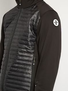 Lacroix's black high-neck jacket is crafted from a waterproof fleece-back stretch fabric. It's finished with body-protecting BPS® panels and IRL® technology to deliver heat back to your core. Wear it from the slopes to the city, storing your belongings in one of the zip-fastening pockets.
