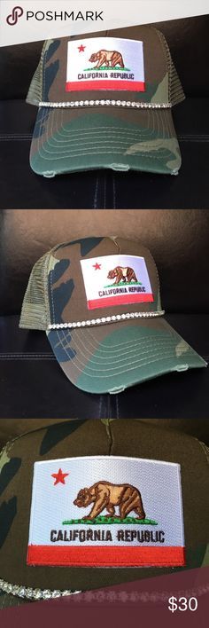 California Camo Bling Trucker Hat Handmade. California camo bling trucker hat. Crystal trim. Mesh for backing. Perfect for any occasion! Accessories Hats