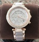 NWT NEW Women's Michael Kors Parker Chronograph Watch MK5896 Rose Gold