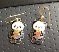 Vintage Cloisonne Panda Bear Pierced Earrings Gold Tone Wires Flower Belly #Unbranded #Pierced