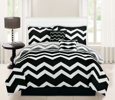 6 Piece Chevron Black Comforter Set Bedding for Mia