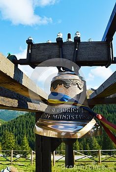 An isolated monastery bell at Prislop monastery, in Maramures region.