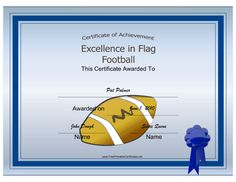Free Printable Football Award Certificate In Pdf And Doc Format