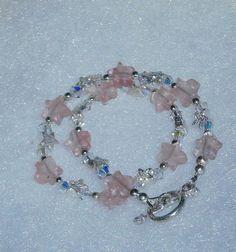 925 Silver Light Cherry Quartz Star Swarovski by dsmenagerie, $26.99