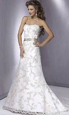 Maggie Sottero Couture Beautiful White Lace Wedding Dress Crystals Size 16 - 18