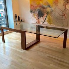 Image of Contemporary Glass Top Dining Table design, Dining Tables Table En Bois Diy, Diy Table, Glass Top Dining Table, Dining Room Table, Glass Tables, Glass Wood Table, Glass Dining Table Designs, Dining Chairs, Wood Table Design