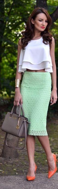 Zara Mint Green Geometric Cutout Pencil Midi Skirt by My Silk Fairytale- Love the pop of orange color in the heels <3