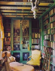 Hard to look away from the bookshelves but check out that ceiling!