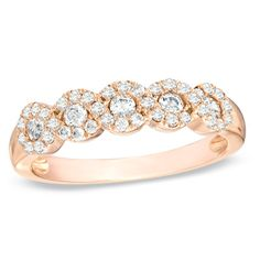 1/2 CT. T.W. Diamond Five Stone Braided Anniversary Band in 10K Rose Gold - Zales (looks just like my original ring!)