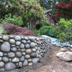 Awesome river rock wall.