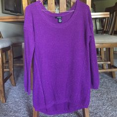 DKNY Purple Sparkly Sweater This sweater is lovely shade of purple. It is sparkley and cozy. The sleeves are 3/4 length. It's only been worn once or twice. It's like new, in mint condition DKNY Sweaters Crew & Scoop Necks