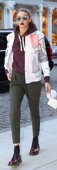 Gigi Hadid wearing Sunglasses – Dior Jacket – Rochambeau Shoes – Dr Martins