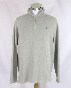 Ralph Lauren Polo Men's XL 1/2-Zip Pullover Sweater 100% Cotton Light Gray #PoloRalphLauren #12Zip
