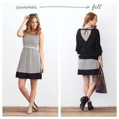 Don't pack up your summer dresses—you can still get more mileage out of them! When mornings turn chilly, reach for your go-to sweater to transform your dress into a wearable transition piece. Bonus points if there's an interesting back detail or cut-out to show off your layering skills. Dust off your ankle boots, too—it'll be time to retire your sandals soon.