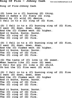 Song Ring Of Fire by Johnny Cash, with lyrics for vocal performance and accompaniment chords for Ukulele, Guitar Banjo etc.