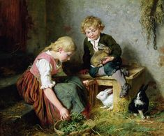 Feeding The Rabbits Painting by Felix Schlesinger
