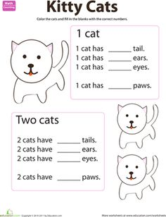 Preschool Animals Counting & Numbers Worksheets: Counting Animals: Cats