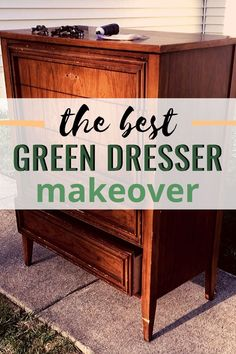 The green thrift store modern dresser makeover with gold hardware. By A Ray of Sunlight | This DIY painting tutorial is packed with tips and techniques to refinish your bedroom furniture in a bold modern green with chalk style paint! Upcycle your old furniture and turn it into something beautiful with a little bit of paint. #bedroomdiy #diyfurniture #furnitureideas