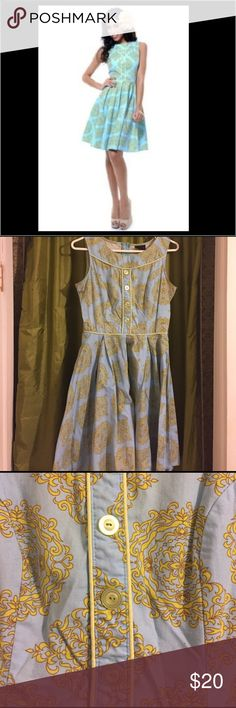Cotton dress with Traditional Blue Yellow Print The quality of fabric is so great and durable that nothing can bring this dress down. The funky things about the dress are shown in the photos. Just sweat stains. No tears. Dresses Midi