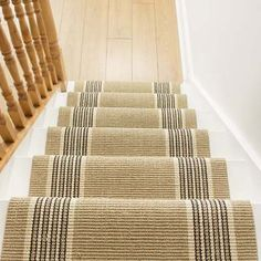 This stair carpet runner is made using a flatweave technique and is made for maximum durability. Traditionally, flatweave carpets are made using a natural fibre such as Sisal or Wool. Staircase Carpet Runner, Stairway Carpet, Hallway Carpet Runners, Cheap Carpet Runners, Striped Carpet Stairs, Striped Carpets, Wall Carpet, Diy Carpet, Bedroom Carpet
