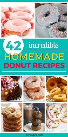 42 of the very best donut recipes ever! These look so delicious. You have to try these mouthwatering homemade donuts. Simple doughnut recipes you will love, you'll never want store-bought donuts again after you try these. Go on, check out all these delici Best Donut Recipe, Baked Donut Recipes, Baked Donuts, Baking Recipes, Doughnuts, Simple Donuts Recipe, Dunkin Donuts, Healthy Donuts, Delicious Donuts