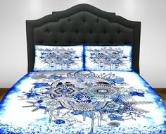 Blue and White   Skull  Bedding, Comforter Set- Duvet Cover -Day Of The Dead Decor ,  Twin, Full, Queen King, Sugar Skulls