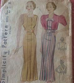 Vintage Orginal Deco 30 S Sewing Pattern Ladies Dress Bust 34 Simplicity | eBay