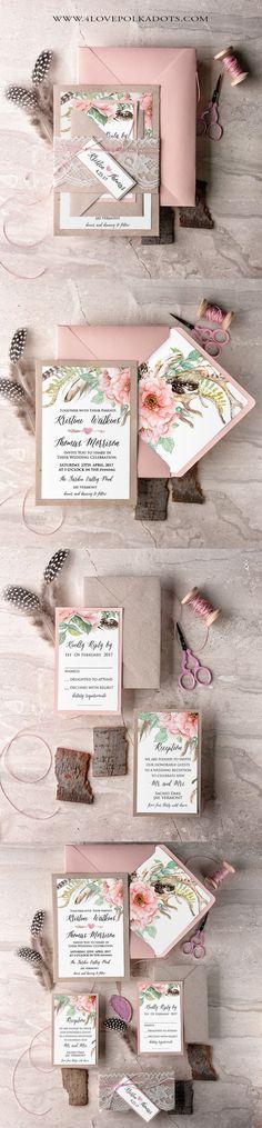 Boho Wedding Invitations Floral Printing #boho #weddingideas