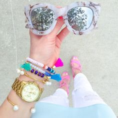 Accessories make the outfit. Pretty little details from a look I shared earlier this week on VF. These adorable marble cat eye sunnies come in at only $50 and this colorful tassel bracelet set was just restocked! Click on the link in my bio to see the full post  get the shopping deets by signing up for @liketoknow.it and liking this photo or by copying this little link into your bio http://liketk.it/2otoa #liketkit by vandifair