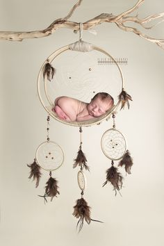 RTS. Handmade. OOAK. Newborn Dream catcher photography prop. Intended to be used in composite shot and not to suspend newborn. can also be used as an accent in a room to store baby items and toys.