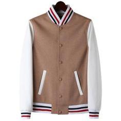 Stylish Print Zipper Up Varsity Jacket Baseball Jacket Letterman ...