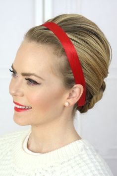 Dress for the holidays with a red ribbon headband.