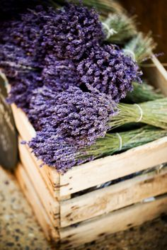 A wooden crate of dried lavender. Lovely