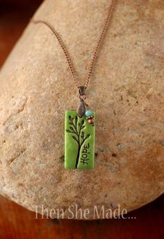 Green Hope Tree Pendant Necklace – Polymer clay crafts - Hobbies paining body for kids and adult Polymer Clay Projects, Polymer Clay Creations, Polymer Clay Beads, Diy Clay, Custom Jewelry, Handmade Jewelry, Personalized Jewelry, Ceramic Jewelry, Ceramic Beads