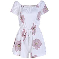 Cute Short Sleeve Off-The-Shoulder Floral Women's Romper (64 PEN) ❤ liked on Polyvore featuring jumpsuits, rompers, off the shoulder romper, floral rompers, flower print romper, short sleeve romper and playsuit romper