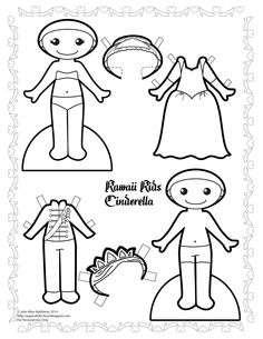Paper Doll School: Kawaii Wednesdays - Cinderella paper doll to color.