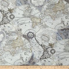 Kanvas Renaissance Man Mapping Skills Gray from @fabricdotcom  Designed by Maria Kalinowski for  Benartex, this cotton print fabric is perfect for quilting, apparel and home decor accents. Colors include metallic silver, grey, beige, sage, pale slate and white.