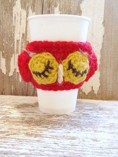 Chi Omega OWL crocheted Coffee Tea Hot Cocoa COZY