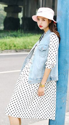 Fashiontroy Hipster & indie long sleeves white dot printed oversized creped chiffon midi dress